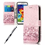 Kompatibel mit Galaxy S5 Hülle,Galaxy S5 Neo Hülle,Galaxy S5 Lederhülle,Rose Gold Sand Muster PU Leder Hülle Schutzhülle Flip Hülle Brieftasche Tasche Handyhülle KlappHülle für Galaxy S5/S5 Neo