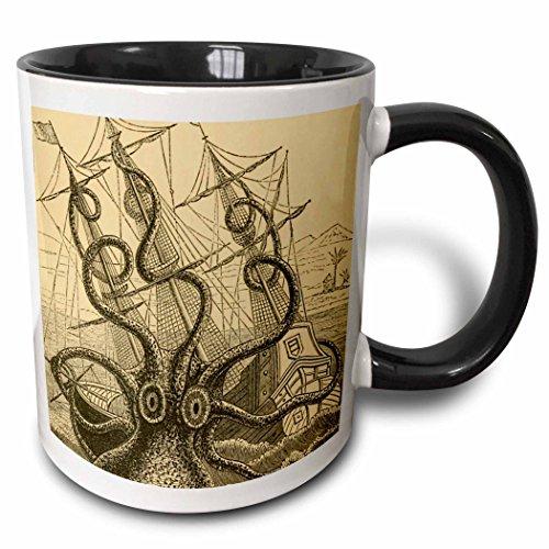 3dRose Gigantic Colossal Octopus Sea Monster Kraken Pierre Denys De Montfort Two Tone Mug 11 oz Black
