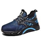 Zapatos de Seguridad para Hombre Transpirable Ligeras con Puntera de Acero Zapatillas de Seguridad Trabajo, Calzado de Industrial y Deportiva darkblue43
