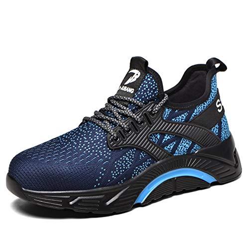 Zapatos de Seguridad para Hombre Transpirable Ligeras con Puntera de Acero Zapatillas de Seguridad Trabajo, Calzado de Industrial y Deportiva darkblue43 ⭐