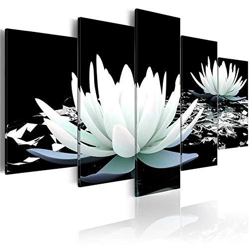 Póster y estampado de loto blanco verde azul para el amor, 5 paneles de Feng Shui, arte de pared, dormitorio, decoración de pared