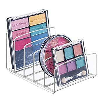 mDesign Plastic Divided Makeup Organizer for Bathroom Countertops Vanities Cabinets - Cosmetic Storage Solution for Eyeshadow Palettes Contour Kits Blush Face Powder - 5 Sections - Clear