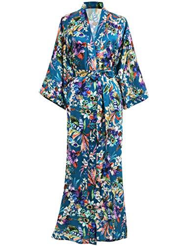 PRODESIGN Damen Morgenmantel Maxi Lang Kimono Gedruckt Bademantel Blumen Muster Robe Sommer Satin Damen Sexy Nachtwäsche (Dunkelgrün)