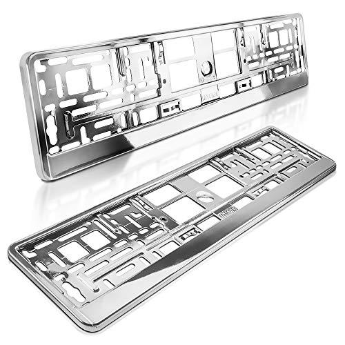 schildEVO 2 Kennzeichenhalter | Chrom Metallic Hochglanz | Silber Look | Nummernschildhalter | DHL-Versand