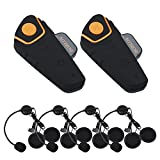 Bobov BT-S2 1000M BT casco de la motocicleta Auricular Bluetooth Intercom Moto Headset Intercom Interphone FM (Pack 2 with 2 sets Earphone)