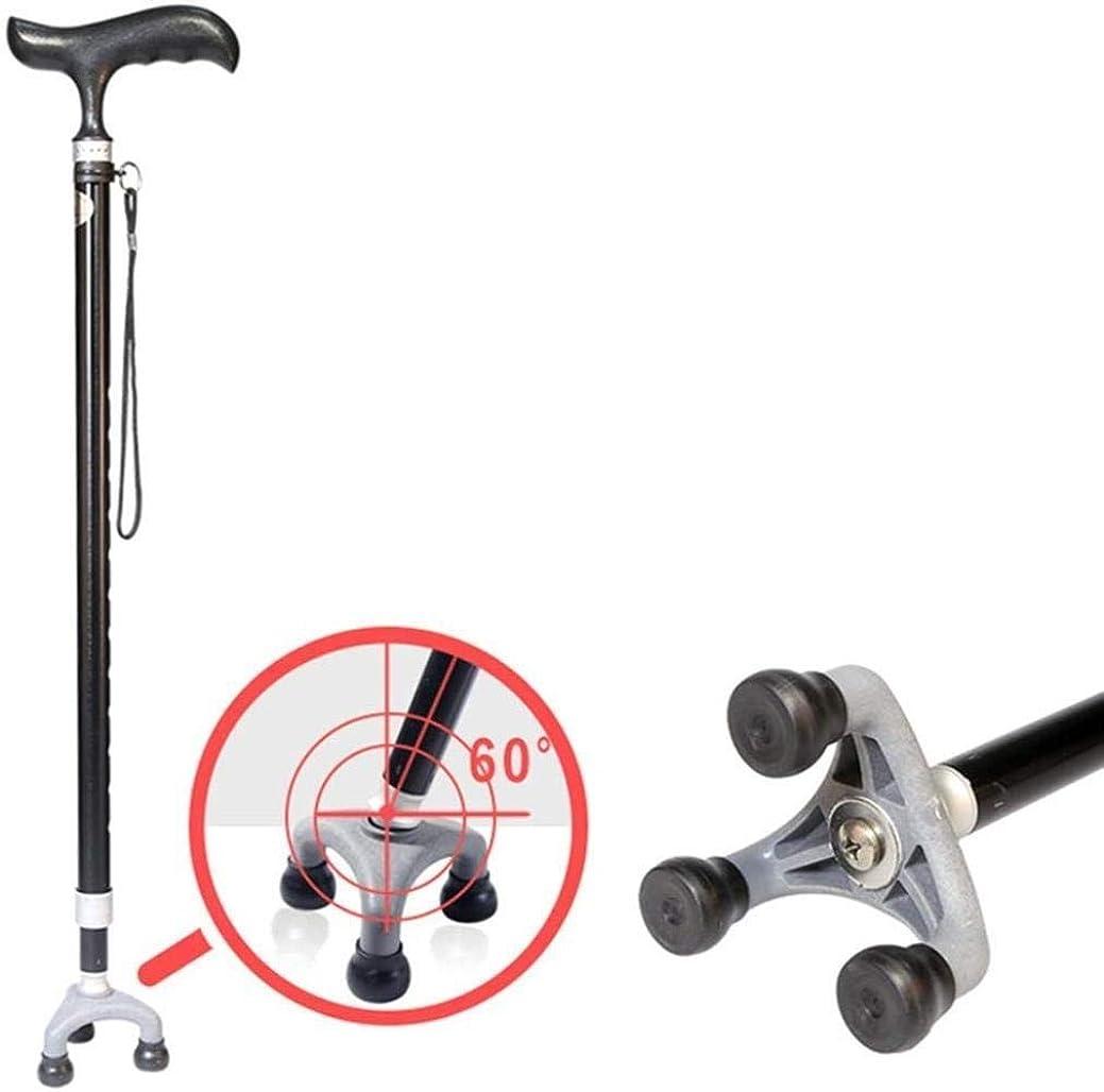 これまでようこそ事前男女兼用助力杖人間工学に基づいたハンドル付きウォーキングスティック軽量ウォーキングステッキは3脚ノンスリップ回しベースマックスと男性又は女性障害者や高齢者のモビリティ杖のための10の調節可能な高さレベルを松葉杖。120キロ、カラー:ブラック 滑り止め (Color : Black)