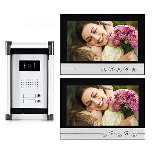 2 Units Apartment Wired Video Intercom System,Video Door Phone System with 9 inches Monitor, Video Doorbell Kit Camera, Support Monitoring, Unlock, Dual Way Intercom,for Home Security