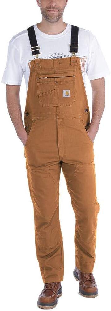 Carhartt Mens Rugged Flex Relaxed Fit Denim Bib Overall Work Utility Outerwear