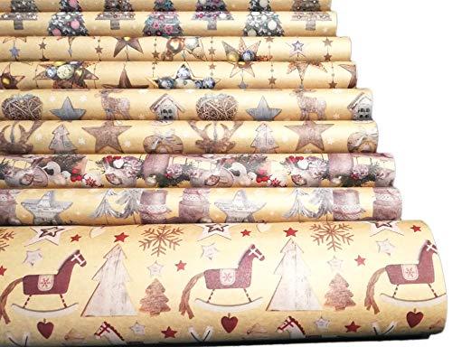 Premium Weihnachts Geschenkpapier Weihnachten Weihnachtspapier Recycling Papier 10 Rollen Natur Geschenkverpackung für Weihnachten Kraftpapier (Beige)