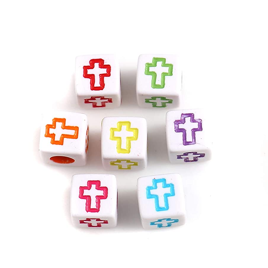 Cross Small Square Cube Spacer Beads, 500 Pack, 6mm (1/4 Inch) with 3.2mm Hole, Acrylic (White)