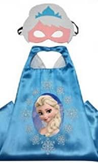 Dress Up Comics Cartoon Superhero Costume with Satin Cape and Matching Felt Mask (Frozen - Elsa)