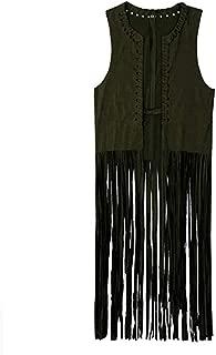 Women Autumn Winter Suede Ethnic Sleeveless Tassels Fringed Vest Cardigan