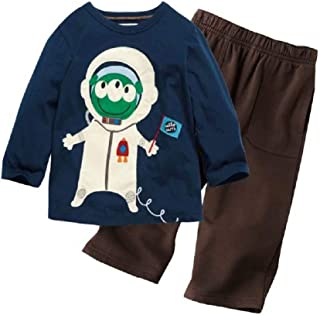 Hooyi Boy 2-Pieces Clothes Suit Spaceman Tshirt Trouser Embroidery Cotton Outfit