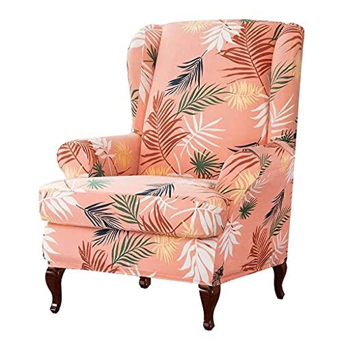 zvcv Funda para sillón de Orejas Funda para Silla de Orejas elástica Fundas para sillón Fundas de sofá de Spandex Lavables Desmontables Protector de Muebles con Estampado de Hojas-Beige