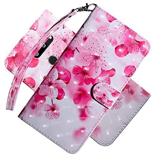 COTDINFOR LG G8 ThinQ Funda Protectora Efecto 3D Pintada de Piel Premium PU Shell con Magnético Cierre Titular de la Tarjeta para LG G8 ThinQ / G8S ThinQ Pink Peach Flower Bx.