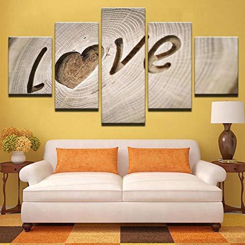 QAZWSY Art Posters5 Stuks Liefde Plank Schilderijen Voor Woonkamer Home Decor Canvas Foto's 30x40 30x60 30x80 CM No Frame