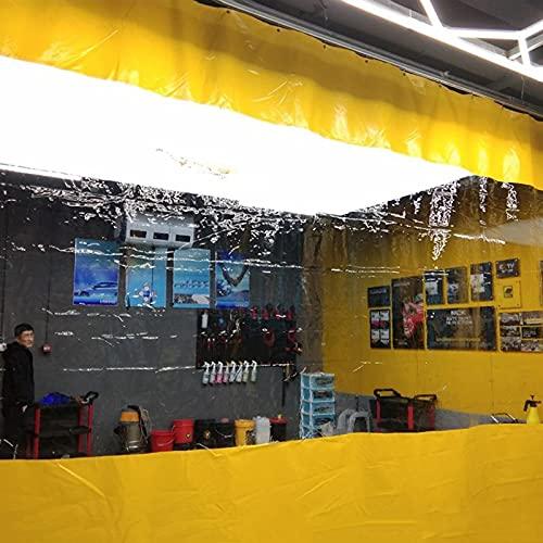 Telone Pannello Laterale per Tenda Extra Alto per Autolavaggio, Telo di Copertura Impermeabile Trasparente per Esterni, Cortina Antipioggia del Ristorante del Gazebo del Patio, 0,5 mm, Giallo