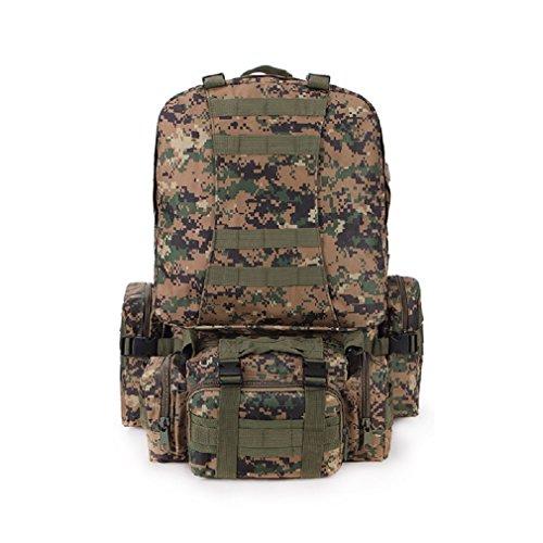 55L Wanderrucksack Outdoor Militärtasche Camouflage Typ Bergsteigenbeutel Camping Wandern Trekking Rucksack mit 3 kleine Molle-Taschen