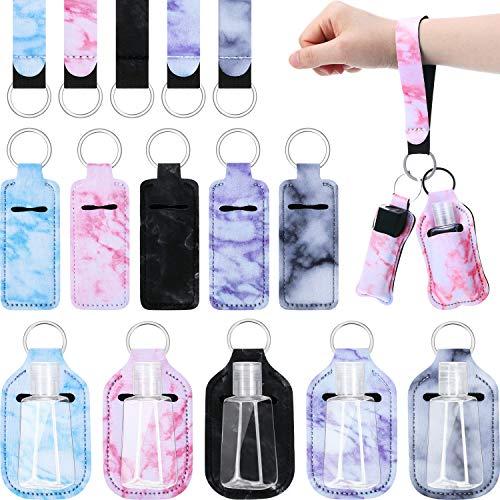 20 Stücke Reise Flasche Schlüsselanhänger Halter Set, Enthält 5 Chapstick Halter Armband Lanyard 5 Lippenstift Halter Schlüsselanhänger 5 Kunststoff Leer Flasche (Hell Marmor)