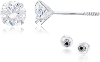 Solid 14k Yellow Gold Hypoallergenic Round Heart Square Cubic Zirconia Cubic Zirconia Solitaire Stud Earrings For girls Wi...