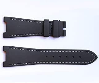 Visconti Milano Black Natural Rubber Replacement Watch Strap for Patek Philippe Nautilus