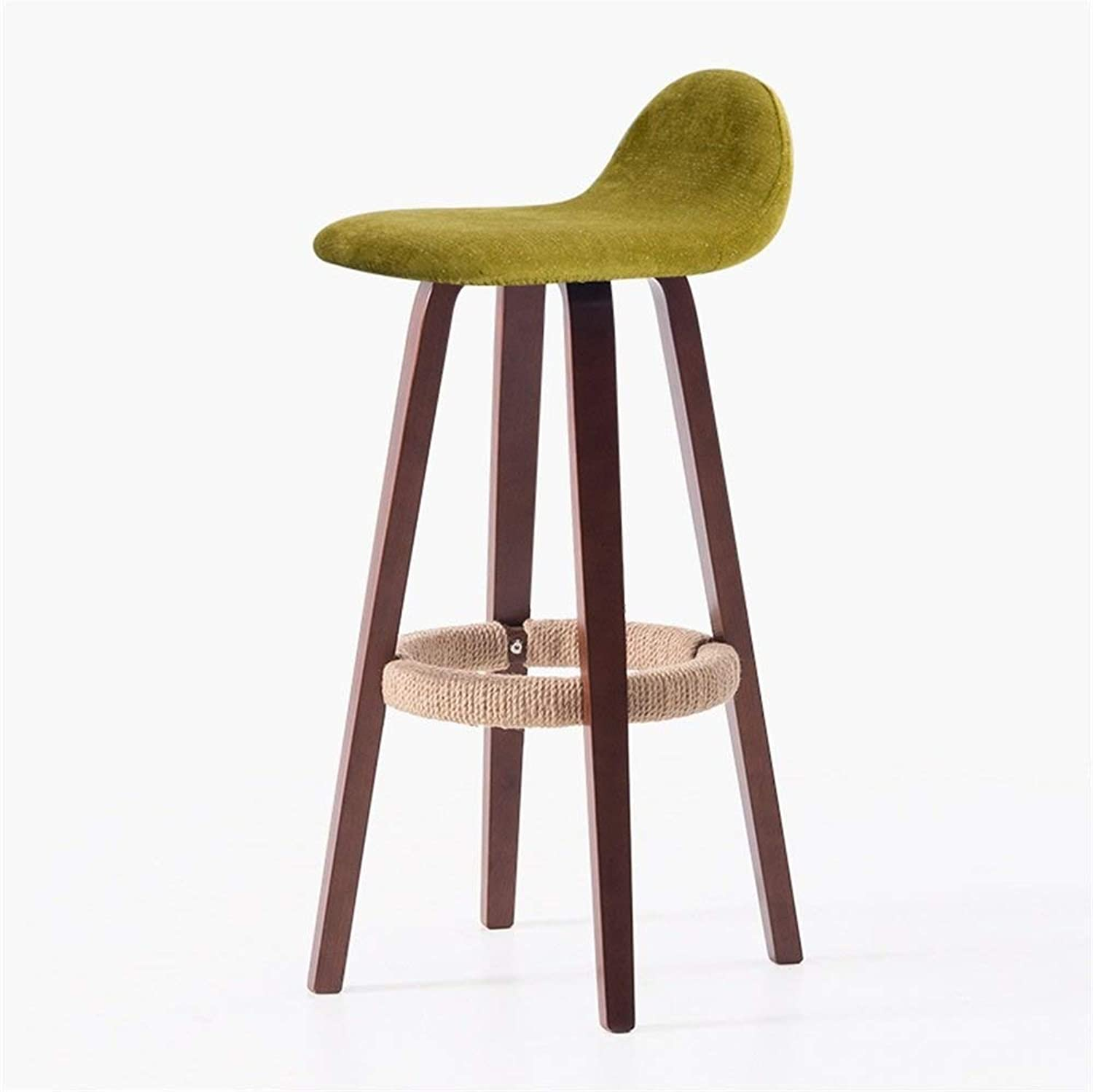 Vintage Solid Wood Bar Stool with Backrest, Bar Kitchen Height Counter Seat (Brown Wood Hemp Rope Art Yellow Green)