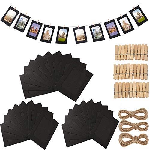 Fashion HW 30 stücke Fotorahmen aus Pappe, zum Aufhängen, 10 x 15 cm,DIY Kraftpapier Bilderrahmen Hängende Wanddekoration mit 30 stücke Clips und 3 stücke Hanf Seile Set (Schwarz)