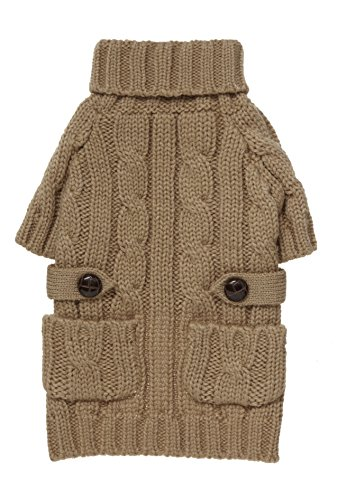 "fabdog Pocket Cable Knit Turtleneck Dog Sweater Camel (16"")"