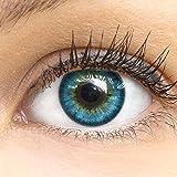 GLAMLENS lentillas de colores azules Fresh Mint Blue + contenedor. 1 par (2 piezas) - 90 Días - Sin Graduación - 0.00 dioptrías - blandos - Lentes de contacto azul de hidrogel de silicona