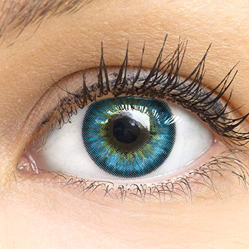 Glamlens lentilles de couleur bleu naturelles colorées très haute opacité Fresh Blue + étuis à lentilles de contact I 1 paire (2 pièces) I 90 Jours I sans correction I 0,00 Dioptries