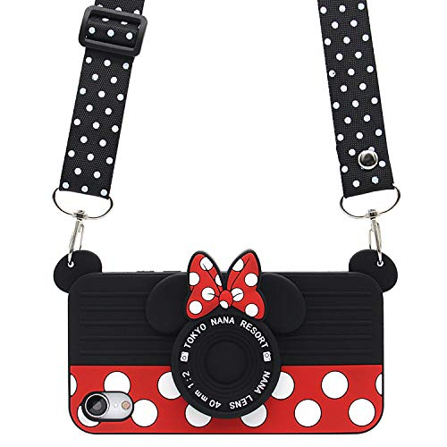 MC Fashion iPhone XR Case, Cute 3D Minnie Mouse Polka Dots Camera Case for Teens Girls Women, Shockproof and Protective Soft Silicone Phone Case for Apple iPhone XR (2018) 6.1-Inch