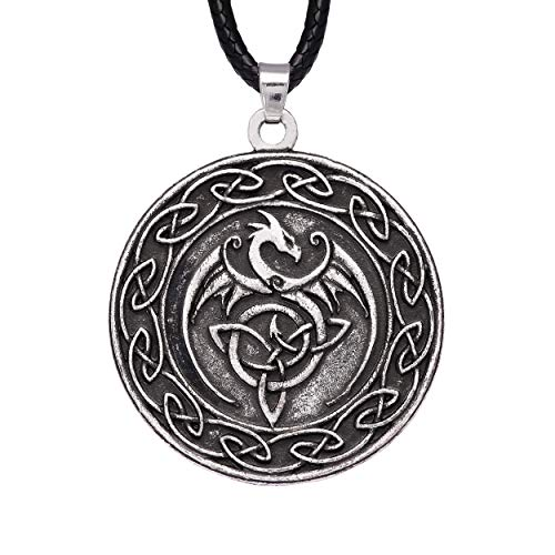 HAQUIL Dragon Necklace, Celtic Dragon Medallion Pendant, Faux Leather Cord, Dragon Jewelry Gift