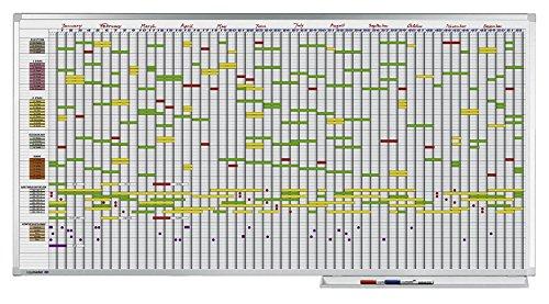Legamaster 7-405000 Professional Jahresplaner mit 7-Tage-Woche,  leichtes Whiteboard bedruckt mit Kalenderraster, emailliert, 100 x 200 cm
