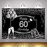 MME 10x7Ft Silver 60th Birthday Photography Backdrop Silver Glitter Shiny High Heels Champagne Background Sixty Years Old Age Party Decoration HXME577