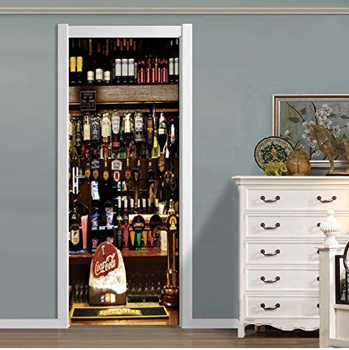Mural de Pegatinas para Puertas, Copa de Botella de Vino, Estilo Europeo, Sala de Estar, Dormitorio, Pegatinas para Puertas, decoración del hogar, Papel Tapiz Mural Impermeable, Papel De Parede 3D