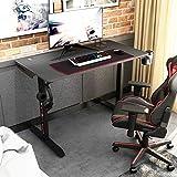 sogesfurniture Mesa de Juegos para computadora, Ergonomic Gaming Desk Mesa de Juegos para PC con Portavasos y Gancho para Auriculares, 110x60x75.5cm, Negro BHEU-TN-I44-BK