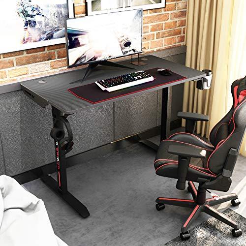 SogesPower Gaming Schreibtisch in T-Form, Computertisch, Computertisch, ergonomischer PC-Schreibtisch mit großem Mauspad, Becherhalter und Kopfhörer-Haken, SP-TN-I44-BK