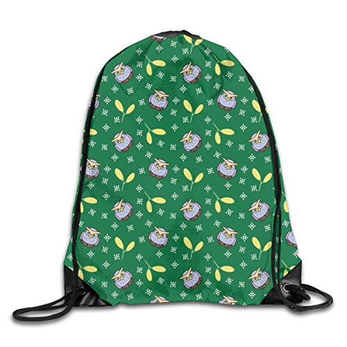 show best Blue Owl with Yellow Fruit Drawstring Gym Bag for Women and Men Polyester Gym Sack String Backpack for Sport Workout, School, Travel, Books 14.17 X 16.9 inch