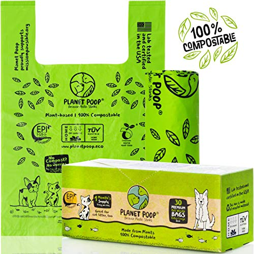 Compostable Dog Poop Bag, Cat Litter Box Clean-up, XL Sized Pet Waste Bags with Handles. Pooper Scooper & Swivel Bin Waste Bags Refill. Biodegradable Poop Bags for dogs. Extra-Large Grocery Bag Size