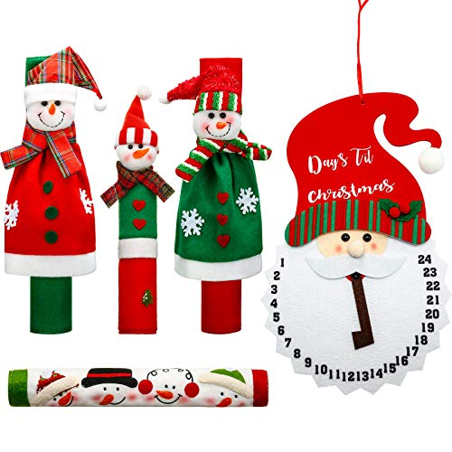 5 Pieces Refrigerators Handle Covers Christmas Decorations Set Snowman Refrigerator Handle Door Covers, Christmas Santa Claus Advent Calendar for Kitchen Appliance Decorations