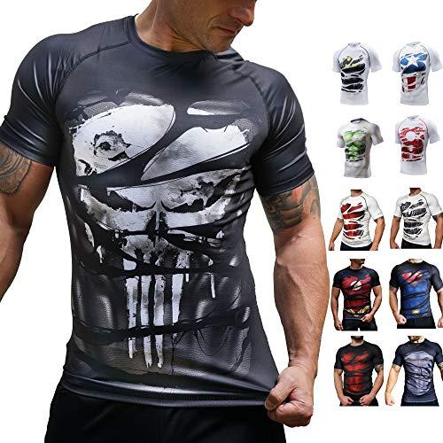 Khroom Camiseta de Compresión de Superhéroe para Hombre   Ropa Deportiva de Secado Rápido para Ejercicio, Gimnasio, Musculación, Running. Material Extensible Ventilado Anti Transpiración (Punisher, M)
