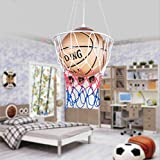 LITFAD Modern Glass Shade Suspended Light with Brown Basketball 1 Head Hanging Light Fixture Boys Room LED Pendant Lighting Height Adjustable Chandelier for Game Room Kids Bedroom Kindergarten