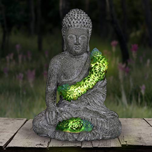 Exhart Solar Buddha Statue w/Beautiful Green LED Succulents | Outdoor Zen & Meditation Spiritual Garden Art|UV Treated, Weather Resistant Meditating Buddha Statue |10' L x 7.5' W x 14.5' H