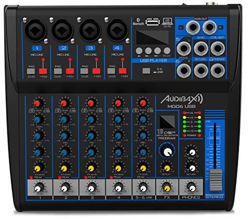 Audibax MG06 USB Mesa Mezclas 6 Canales con Bluetooth, MP3,USB Rec y...