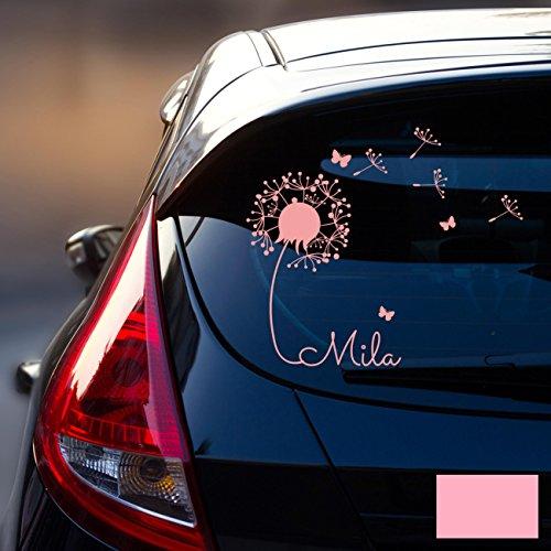 ilka parey wandtattoo-welt® Autotattoo Heckscheibenaufkleber Fahrzeug Aufkleber Sticker Baby Name Pusteblume M1864 - ausgewählte Farbe: *rosa* ausgewählte Größe: *M - 28cm breit x 25cm hoch*