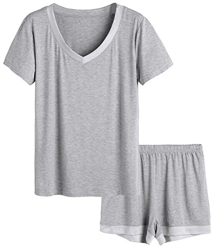 Latuza Women's V-neck Sleepwear Short Sleeve Pajama Set L Light Gray