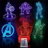 Veilleuse LED Spiderman pour enfant - 16 couleurs réglables - 6 en 1...