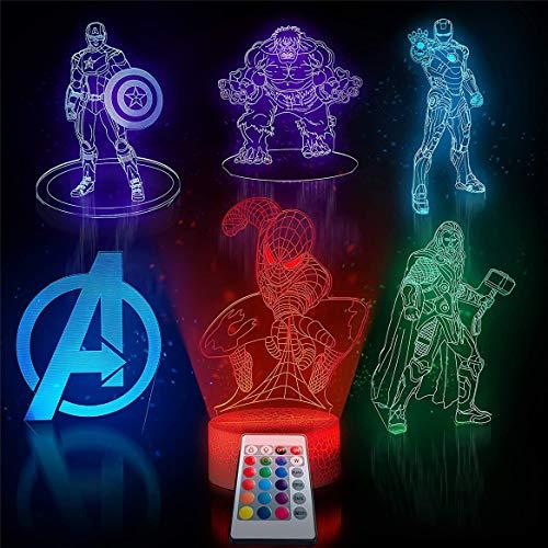 Kinder Spiderman LED Nachtlicht 16 Farben einstellbar 6 in 1 3D-Muster Nachttischlampe Schlafzimmer Dekoration für Geburtstagsgeschenke