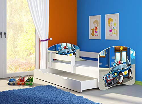 Clamaro 'Fantasia Weiß' 180 x 80 Kinderbett Set inkl. Matratze, Lattenrost und mit Bettkasten Schublade, mit verstellbarem Rausfallschutz und Kantenschutzleisten, Design: 38 Polizeiwagen
