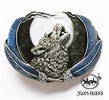 Napolo Cinturon de Hebilla Western Vintage Buckle Hombre Lobo Abierto Azul aullido